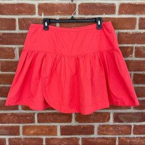 J. Crew coral linen & cotton faux wrap mini skirt